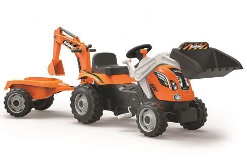 SMOBY - Šlapací traktor Builder Max s bagrem a vozíkem oranžový Dětské motokáry, čtyřkolky, šlapadla,