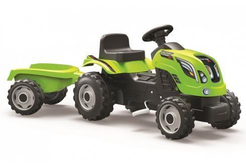 SMOBY - Šlapací traktor Farmer XL zelený s vozíkem Dětské motokáry, čtyřkolky, šlapadla,