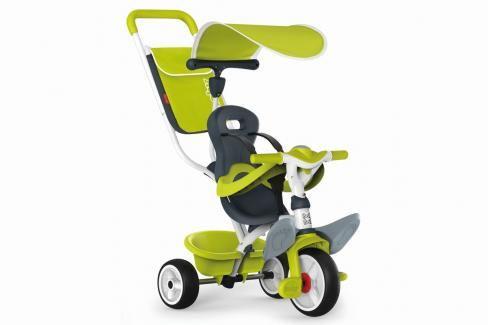 SMOBY - Tříkolka Baby Balade 2 zelená, stříška, taška Tříkolky pro děti