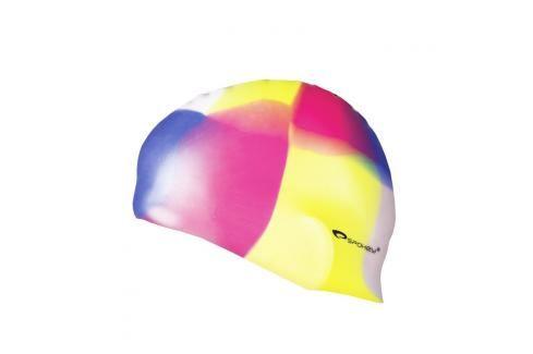 SPOKEY - ABSTRACT-Plavecká čepice silikonová žluto-růžovo-modrá kostka Čepice na koupání