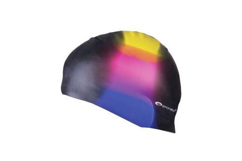 SPOKEY - ABSTRACT-Plavecká čepice silikonová černá s barevným pruhem Čepice na koupání