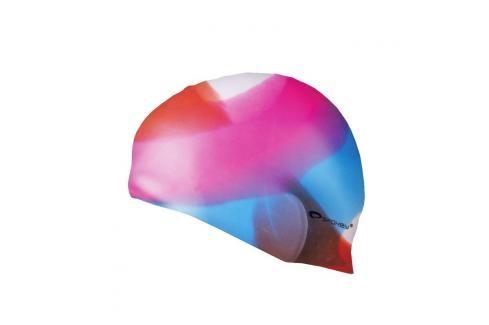SPOKEY - ABSTRACT-Plavecká čepice silikonová barevná, převládá růžová s modrou Čepice na koupání