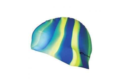 SPOKEY - ABSTRACT-Plavecká čepice silikonová modro-žluto-zelené pruhy Čepice na koupání