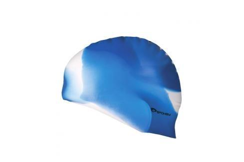SPOKEY - ABSTRACT-Plavecká čepice silikonová modrá s bílým Čepice na koupání