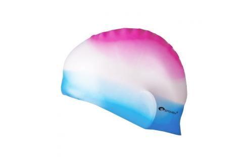 SPOKEY - ABSTRACT-Plavecká čepice silikonová růžovo-bílo-modrá Čepice na koupání