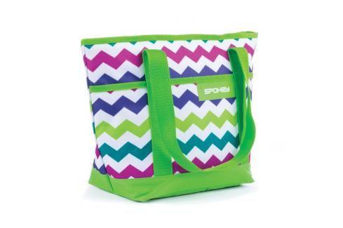SPOKEY - ACAPULCO Plážová termo taška malá zelená zigzag 36 x 15 x 27 cm Plážové tašky