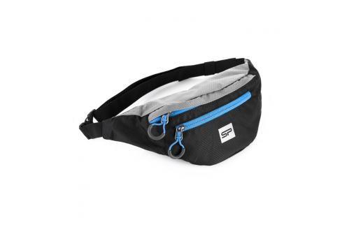 SPOKEY - BOREAS menší sportovní ledvinka černo-šedá, modrý zip, 3l Dětské peněženky
