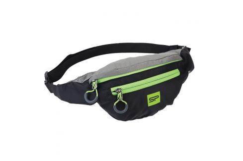 SPOKEY - BOREAS menší sportovní ledvinka černo-šedá, zelený zip, 3l Dětské peněženky