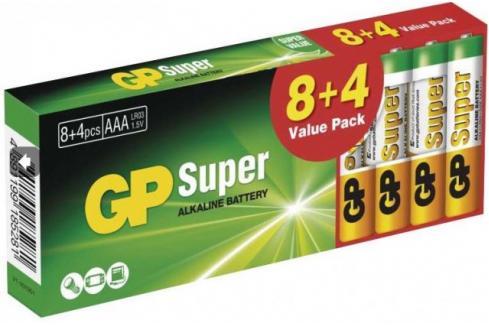 Baterie Alkaline GP Super B1310T,AAA,8+4ks Heureka.cz | Elektronika | Baterie | Baterie primární